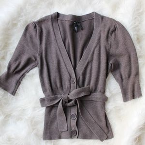 Cropped Button Front Cardigan with Belt
